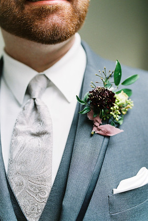 deep purple, scabiosa boutonniere for the groom - Rooted Willow // Las Vegas Elopement & Intimate Wedding Photographer - Kristen Krehbiel - Kristen Kay Photography