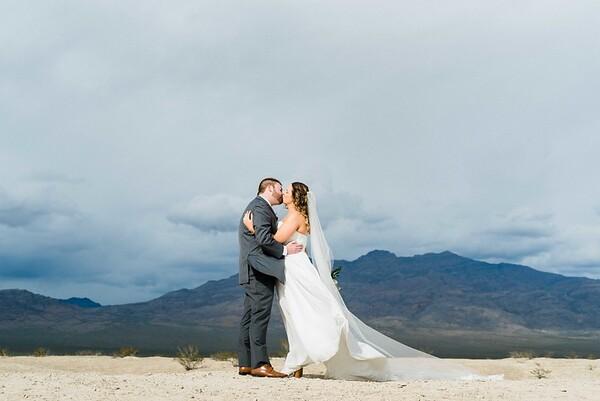 mountain view first look // bridal gown with long cathedral veil by Robert Bullock // Las Vegas Elopement  & Intimate Wedding Photographer - Kristen Krehbiel - Kristen Kay Photography