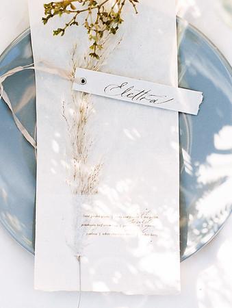 Caligraphy name cards - organic plants on minimal white menu card // Janna Brown Design // Kristen Krehbiel - Kristen Kay Photography - sunrise desert elopement in Las Vegas