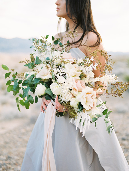 Las Vegas Desert Elopement Wedding at Sunrise -- Carol Hannah Bridal Gown -- oversized organic bridal bouquet with desert plants, white garden roses and blush pink roses  //  Janna Brown Design  //  Kristen Krehbiel - Kristen Kay Photography