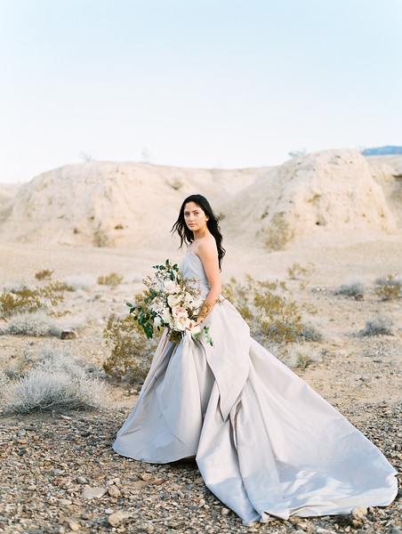 Las Vegas Desert Elopement Wedding at Sunrise -- Carol Hannah Bridal Gown -- oversized organic bridal bouquet with desert plants and white garden roses   //  Janna Brown Design  //  Kristen Krehbiel - Kristen Kay Photography
