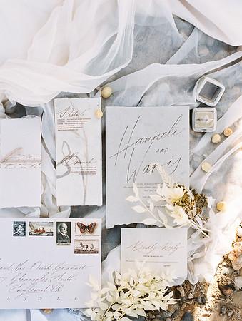 white and grey calligraphy wedding invitation suite with old stamps // Janna Brown Design // Kristen Krehbiel - Kristen Kay Photography - sunrise desert elopement in Las Vegas