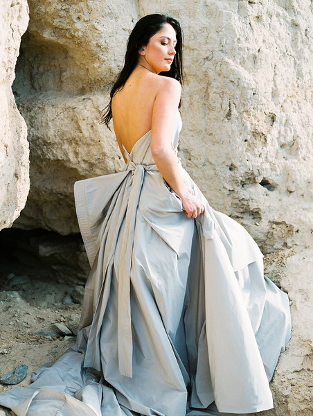 Carol Hannah Bridal Gown -- a modern sweetheart ballgown with a bow -- Las Vegas Desert Sunrise Elopement // Janna Brown Design // Kristen Krehbiel - Kristen Kay Photography