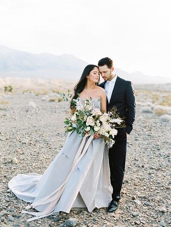 Las Vegas Elopement at Sunrise - Carol Hannah Bridal Gown - oversized organic bridal bouquet with desert plants, white garden roses and blush pink roses //  Janna Brown Design // Kristen Krehbiel - Kristen Kay Photography