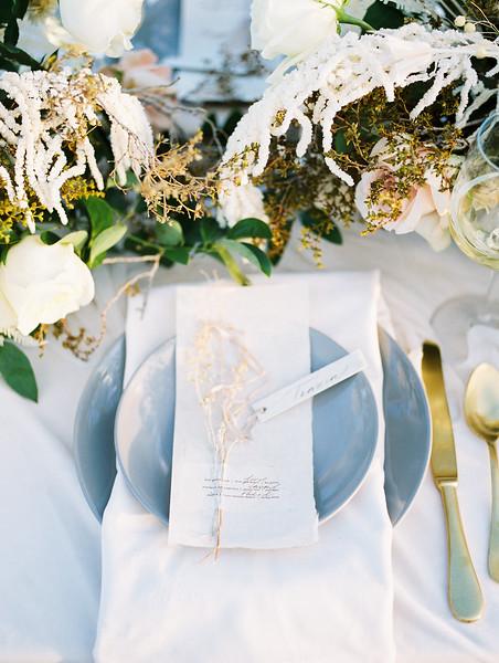 gold and dusty blue table setting inspiration // Janna Brown Design // Kristen Krehbiel - Kristen Kay Photography - sunrise desert elopement in Las Vegas