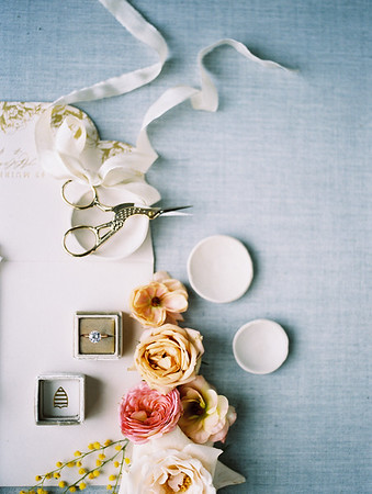 flat lay styling with silver tray - pinks and blues - The Doyle - A Modern and Industrial Las Vegas Wedding Venue - Kristen Krehbiel - Kristen Kay Photography - The Mrs Box - wedding rings