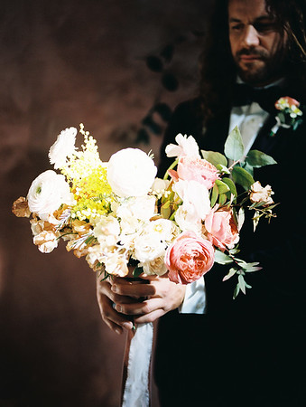 Black suit with bow tie - classic groom style - harsh light portrait - The Doyle - Las Vegas Wedding Venue - Kristen Krehbiel - Kristen Kay Photography - pink and white bridal bouquet by Oak and Owl