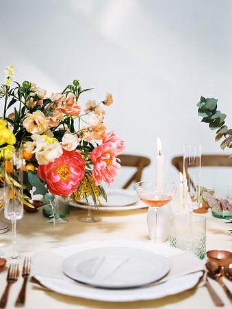 pink peony centerpiece by Oak and Owl - bold wedding details - The Doyle - Las Vegas Wedding Venue - Kristen Krehbiel - Kristen Kay Photography - Type A Society