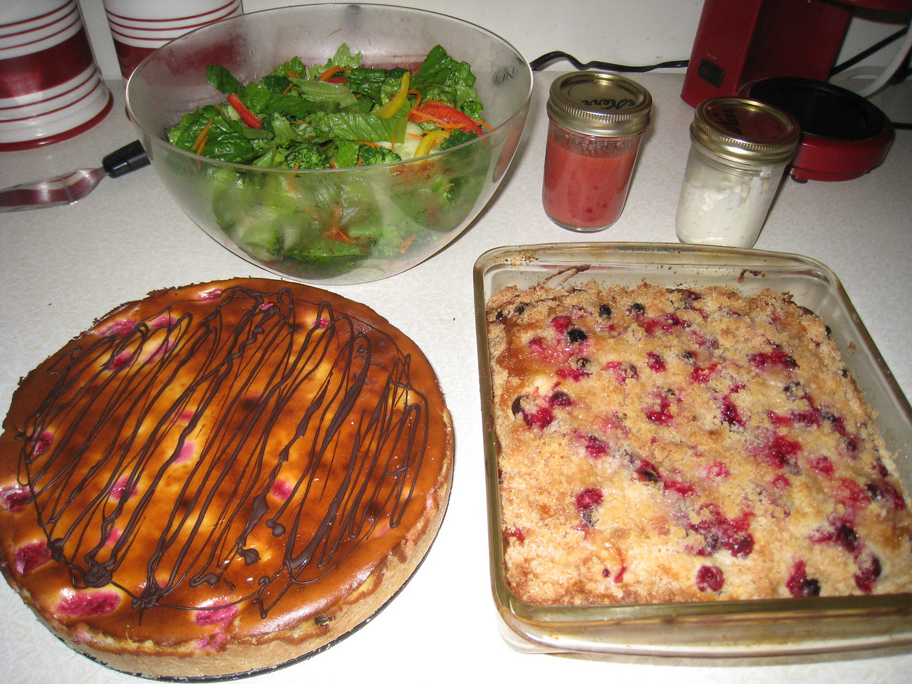 Chiyoko's Thanksgiving contributions Raspberry Chocolate Cheesecake, Cranberry Buckle oh & a bit of green salad :^)..