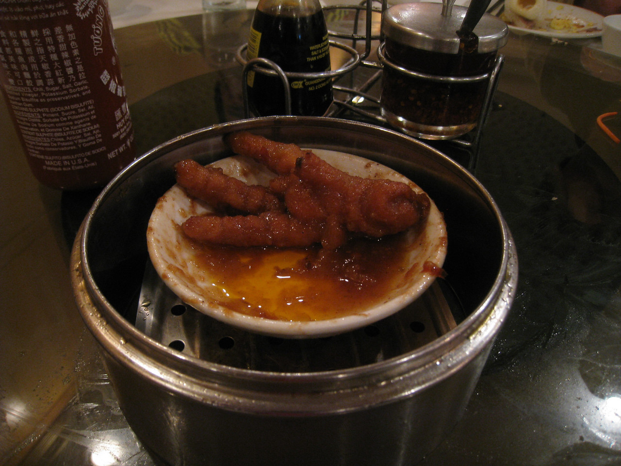 Dim Sum with friends today, the only thing left on the table at the end one lone Chicken's foot ;^)..