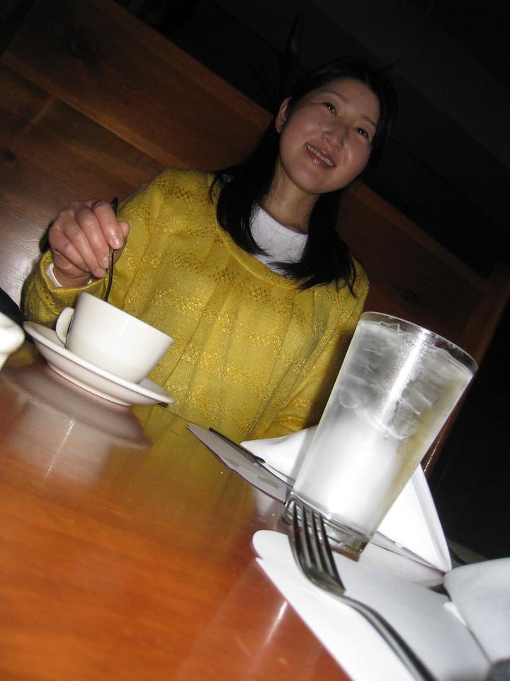 Chiyoko waiting for Breakfast The Black Rabbit Restaurant February 14th 2010