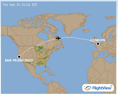 Anwen leaves the Eastern seaboard & heads out over North Atlantic! There is a great website http://www.flightview.com were you can punch in just about any flight over America and see were the plane is at that moment - very cool.