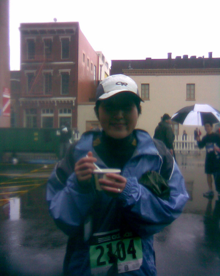 Chiyoko trying to warm up with some post race clam chowder!