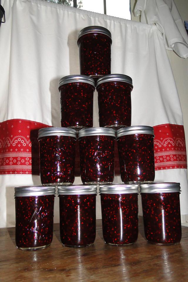 A new batch of Raspberry & Marion Berry Jam.