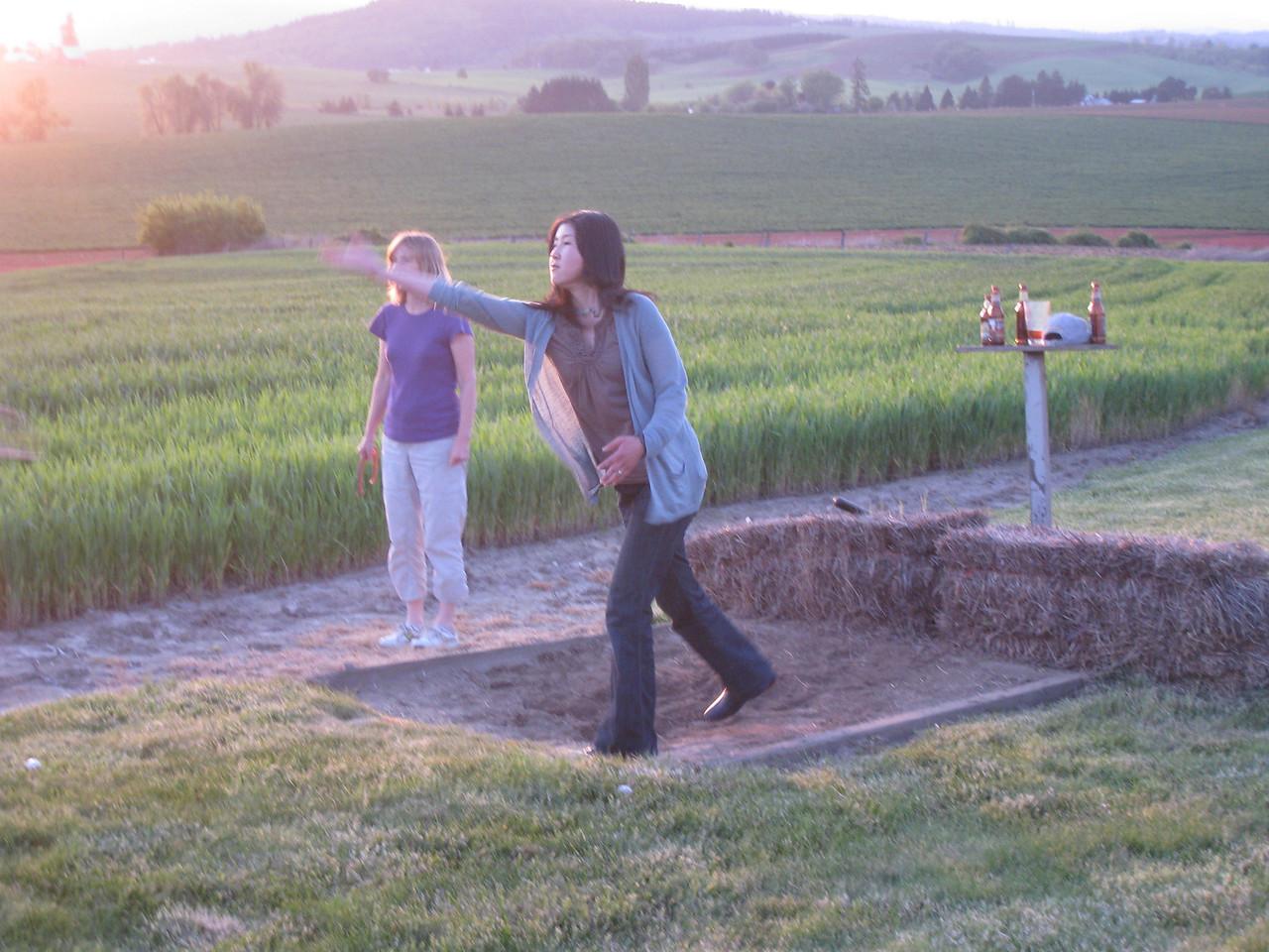 Chiyoko & Suzy playing Horseshoes.
