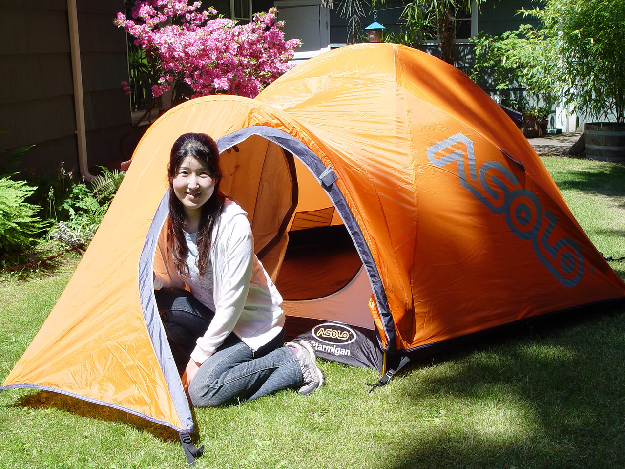 June 15th 2008 - Chiyoko checking out our new tent!