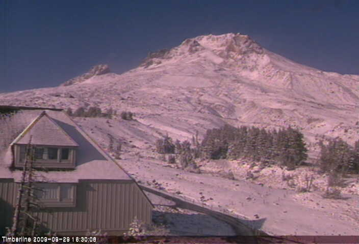 So Today September 29th was our first cold rainy Autumn weather day of the year. Hood was lost in the clouds most of the day but things cleared up for an hour or so around 4:00pm & I grabbed this image off the Timberline Cam of Mt. Hood with a fresh new layer of snow.