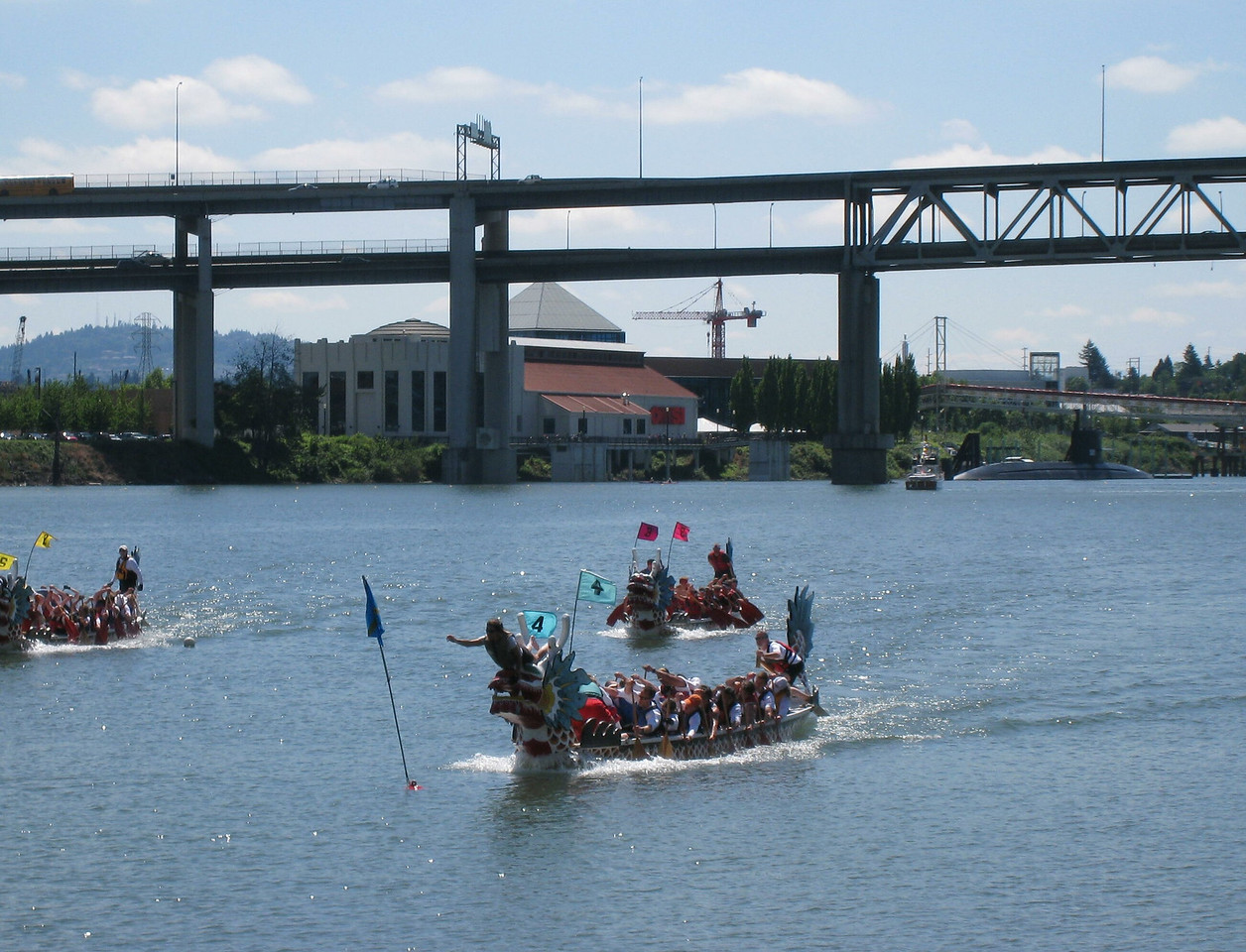 Dragon Boat Racing on the Willamette River Portland.