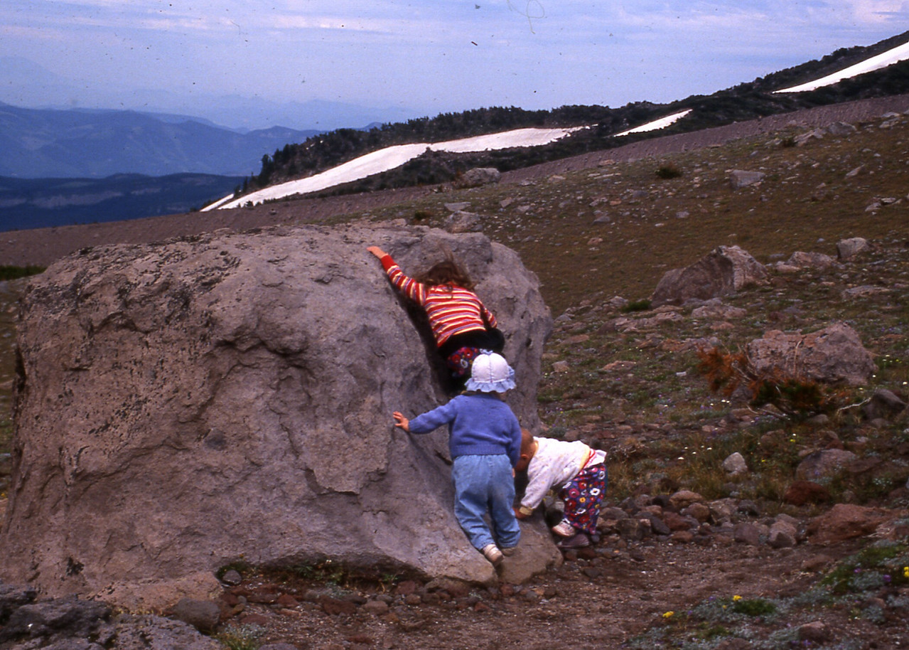 Another old photo that popped up - Mirranda, Carrie & Anwen rock climbing outside the stone hut on the way up to Cooper Spur.  Circa 1992