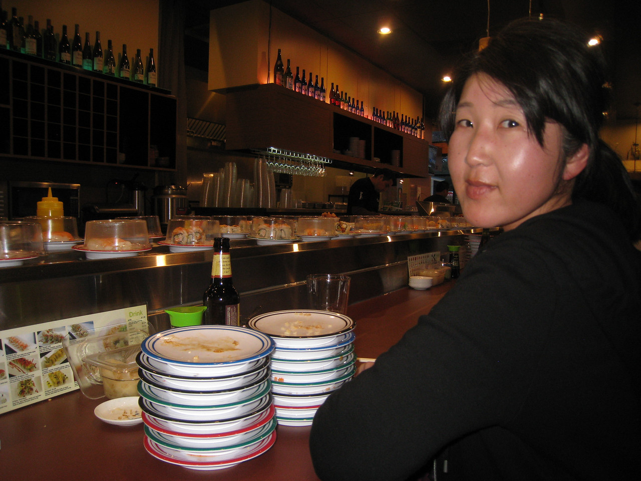 16 plates Chiyoko???? Celebrating our 5th year aniversary with conveyor Sushi!