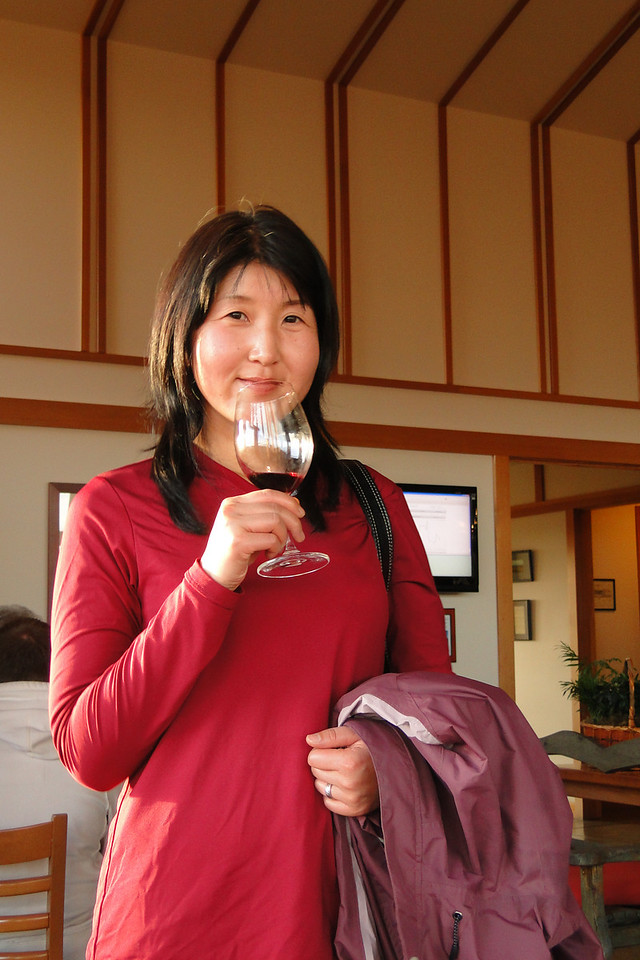 Chiyoko Wine tasting at Bethel Heights after a short hike at Silver Falls State Park. November 28th 2010