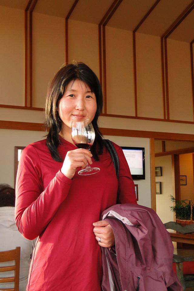 Chiyoko Wine tasting at Bethel Heights after a short hike at Silver Falls State Park. November 28th 2010
