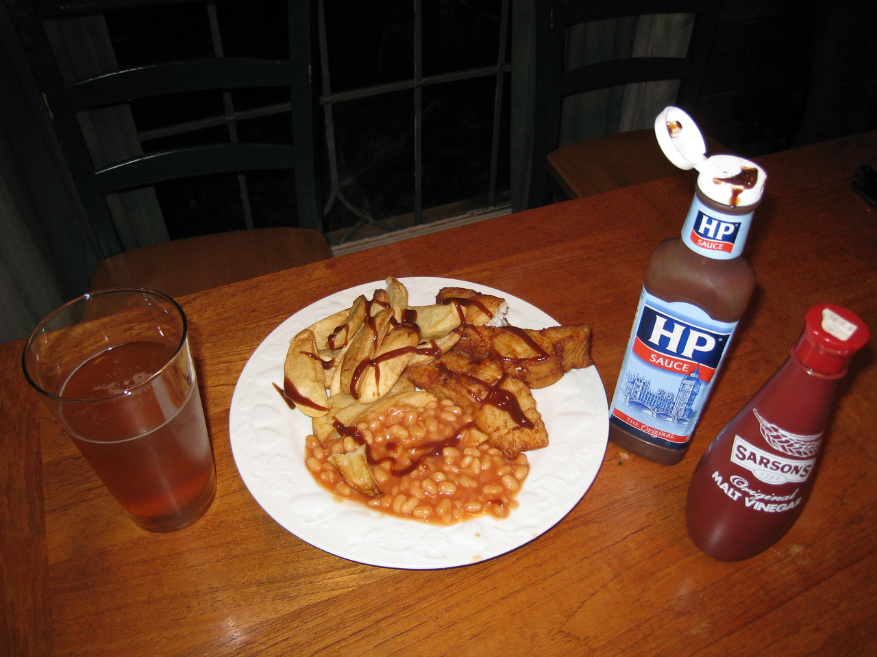 For my Birthday tea I got Fish & Chips withy baked beans washed down with a pint of IPA.