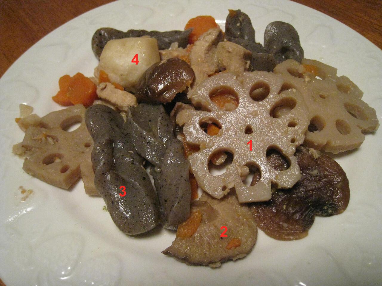 Japanese New Years Day Food 1) Renkon 蓮根 - Lotus Flower Root. 2) Shiitake 椎茸 - Shitake Mushroom 3) Konnyaku 蒟蒻 - Konjac (Voodoo Lilly Root)   4) Satoimo 里芋 - Taro Root