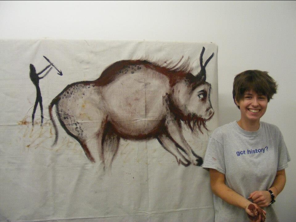 Anwen's been busy at Liverpool Uni painting Bison! Painted with red & black Ocher using hands & sticks.