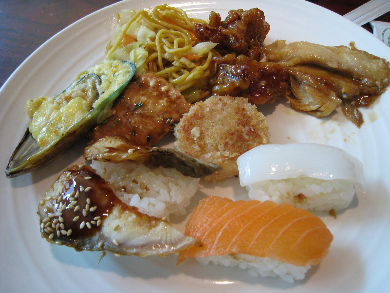Lunch at Todai Resturant in Portland. This is one of Chiyoko's plates from the all you can eat Buffet :^).....