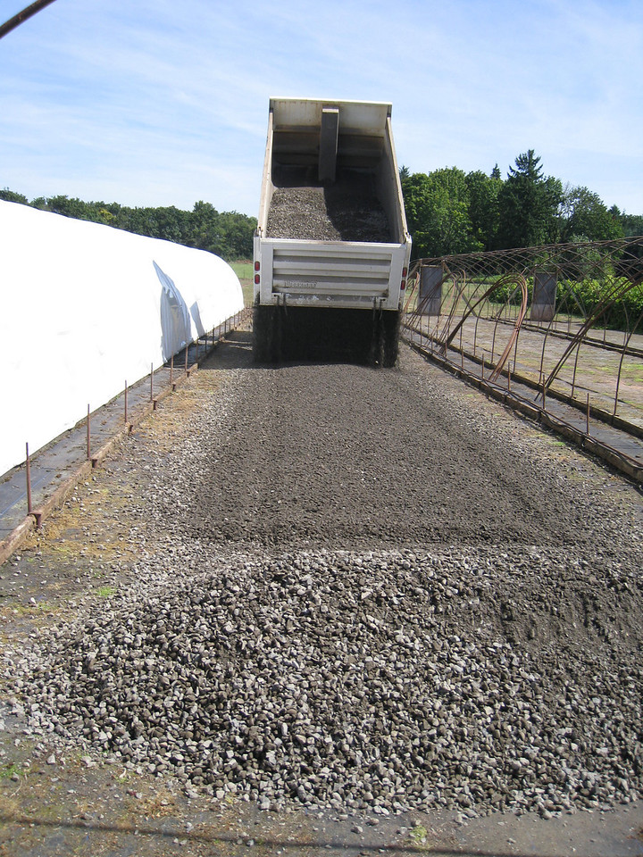 We had a load of gravel delivered to fix the floor in one of the greenhouses that we plan to use next year.