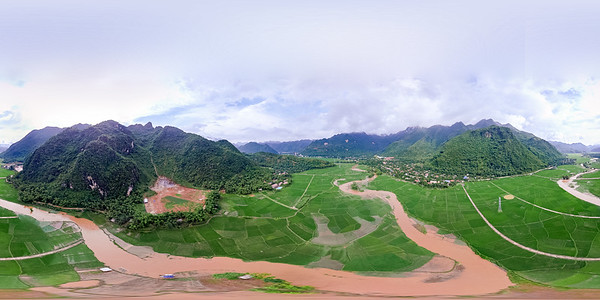 Aerial perspective of Mai Chau Valley
