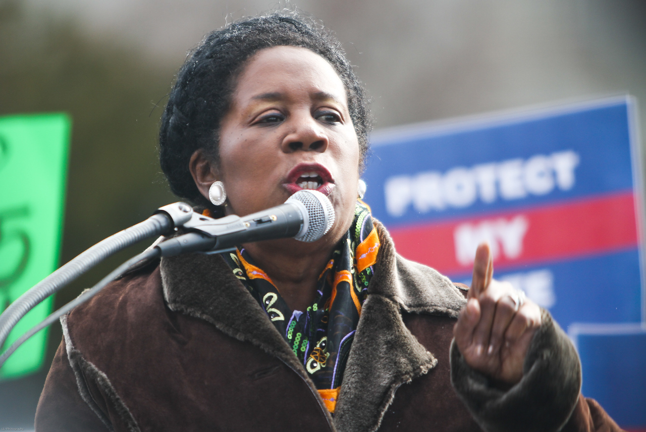 Texas Rep. Sheila Jackson  Lee speaks outside of the Supreme Court on Wednesday, February 27, 2013 to show support for the Voting Rights Act of 1965