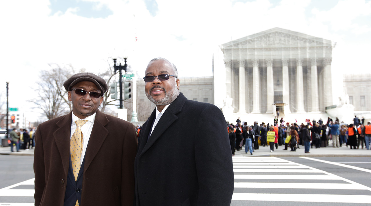 Alabama State Senator District 26, Quinton T. Ross, Jr.,(right) and Associate outisde of the Supreme Court on Wednesday, February 27, 2013 to show support for the Voting Rights Act of 1965.