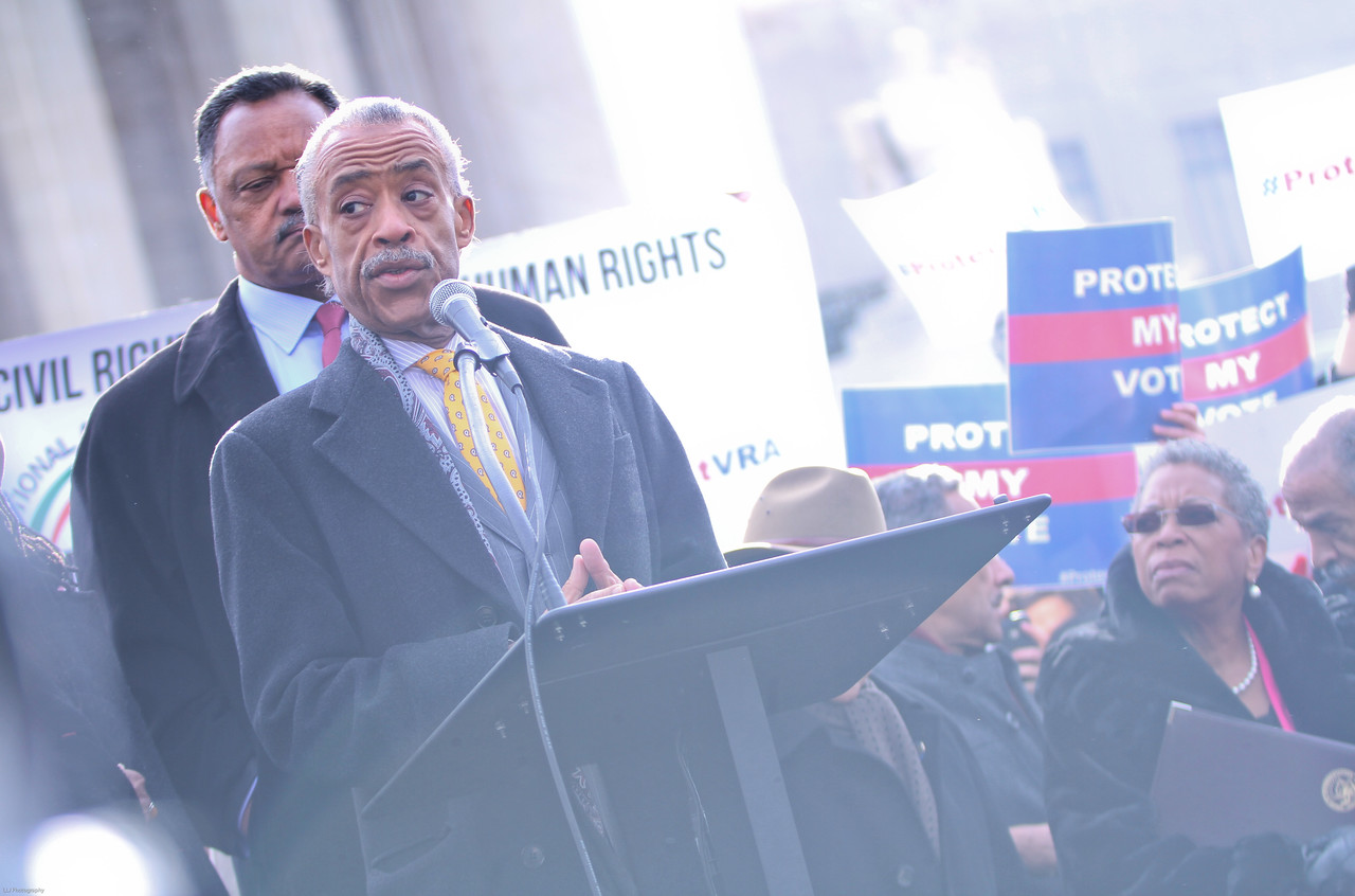 Rev. Al Sharpton speaks as people wait outisde of the Supreme Court on Wednesday, February 27, 2013 to hear the case of Shelby County v. Holder Voting Rights.