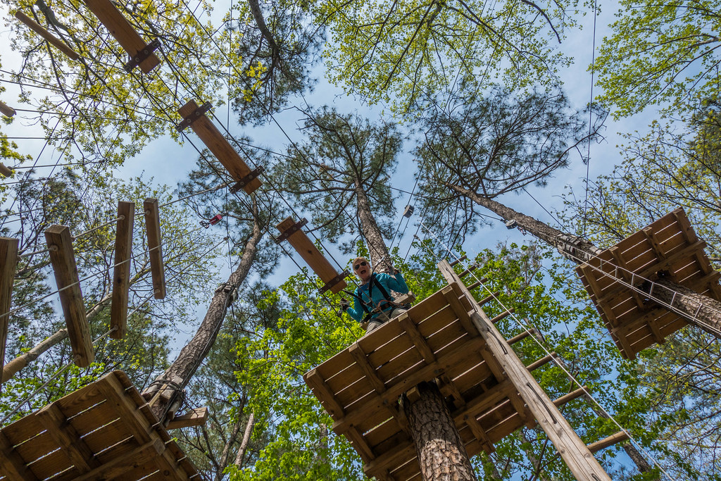 Getting high in the trees at the Adventure Park in Virginia Beach