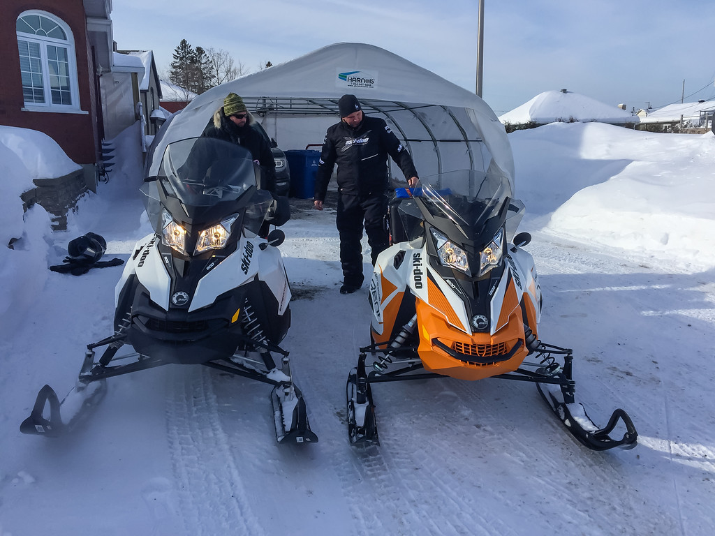 Packing up our sleds for our Snowmobile Quebec Adventure