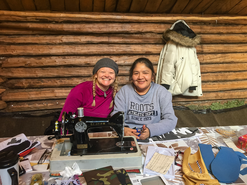 Deb putting her sewing skills to the test at the Cree Cultural Center