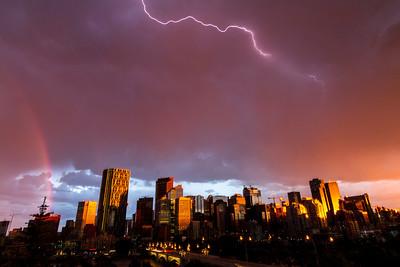 Rainbow and Lightning over Downtown Calgary