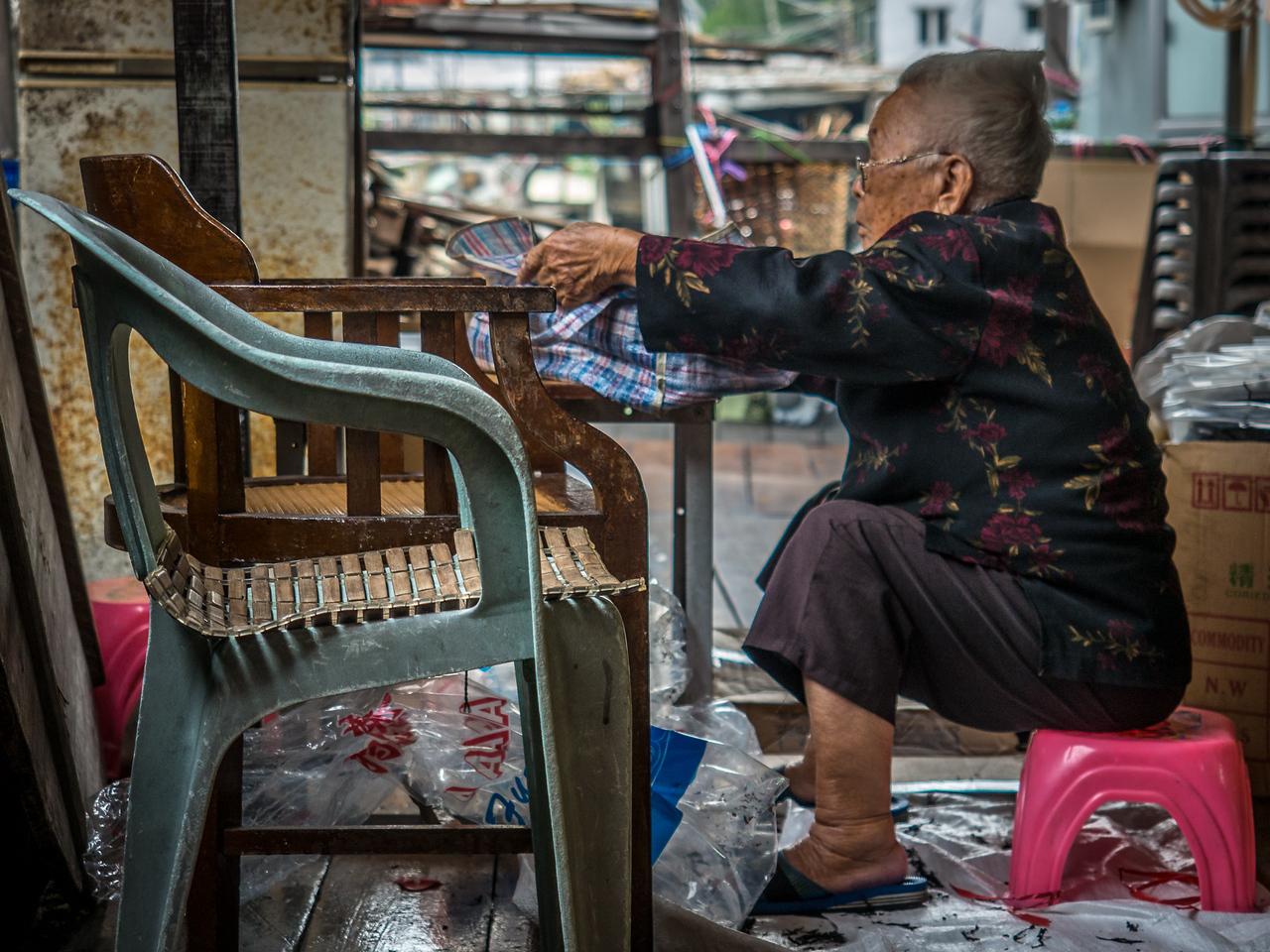 Older woman in Hong Kong market