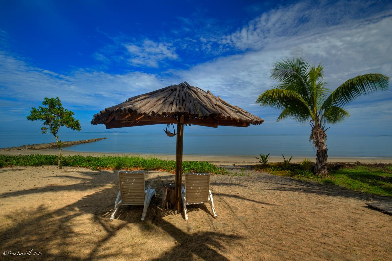 Beach umbrella and beach chairs fiji