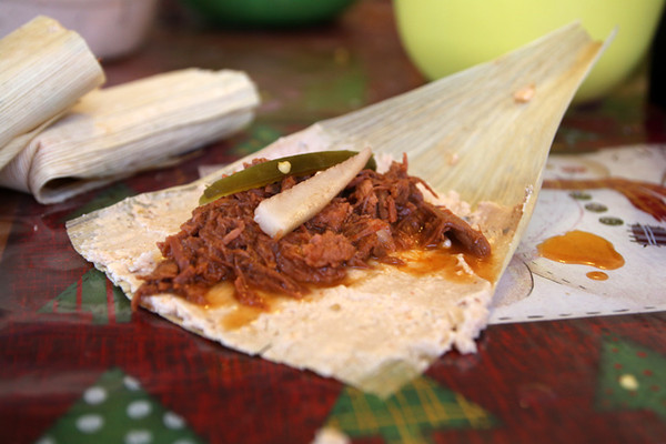 Assembling a Mexican tamale