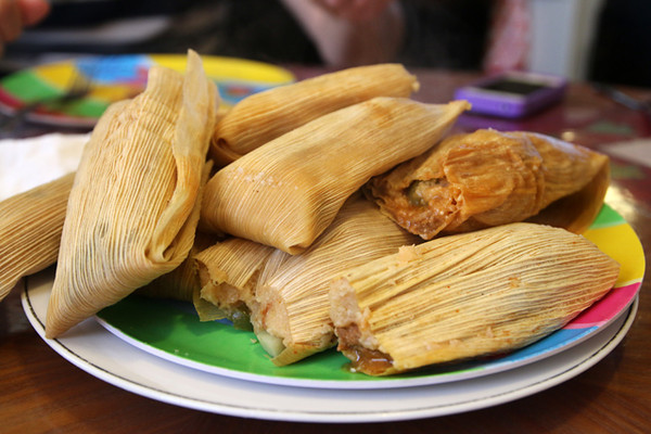 Plate of hot and fresh tamales
