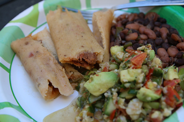 One of many plates of tamales