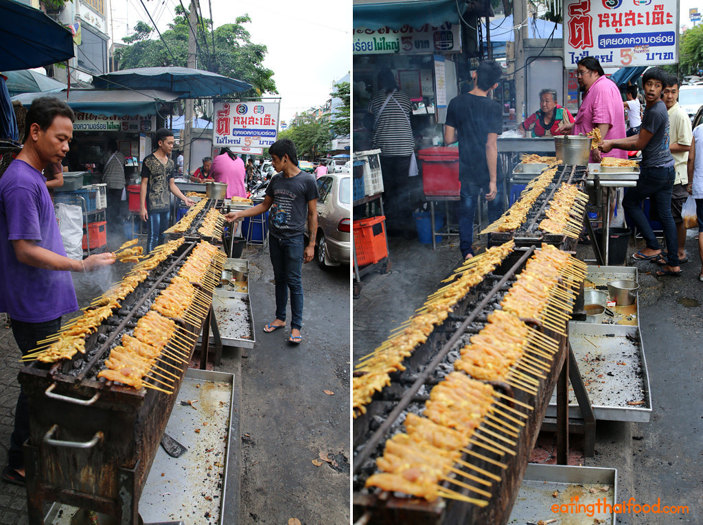 The impressive grill at Dee Moo Satay (ตี๋หมูสะเต๊ะ)