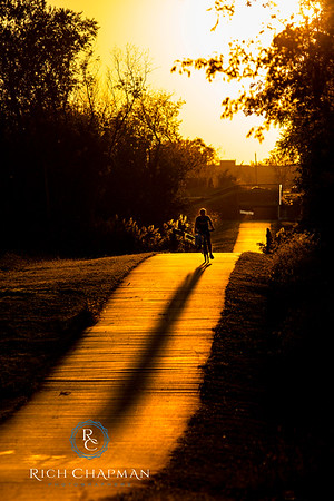 """""""Golden Corridor"""" ~ A bike rider casts a long shadow on the path linking Randall Road to Stonegate Road at sunset.  #sunset #pedestrian #bikerider #shadow #ilovesilhouettes #bike #bicycle #richchapmanphotographers @algonquinil @VlgAlgonquin @McHenryCountyIL"""