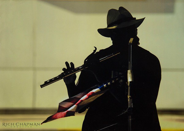 street musician, american flag, flag, america, flute, silhouette, music, performer, musician, old glory, fingers, hat, microphone, microphone stand, rich chapman, photography, photographer, chapman