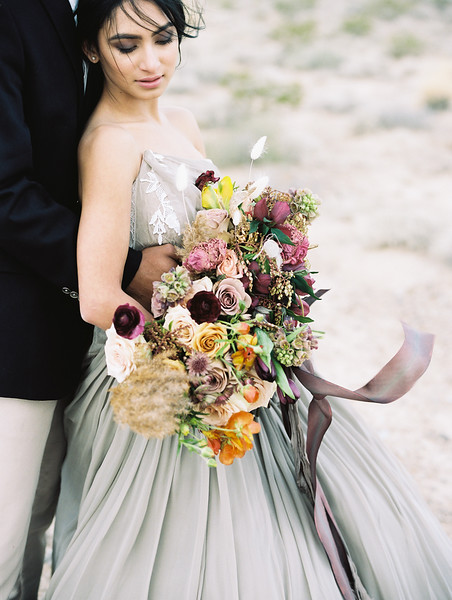 Purple, blush and orange bridal bouquet by The Potted Pansy | Kristen Kay Photography