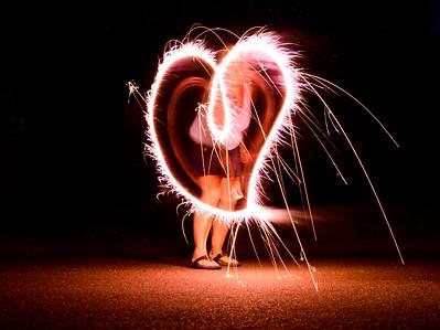 Long exposure of sparkler making a heart shape