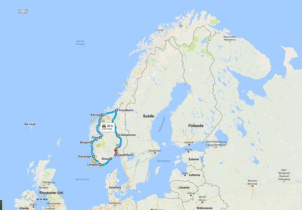 Itinéraire dans le Sud de la Norvège
